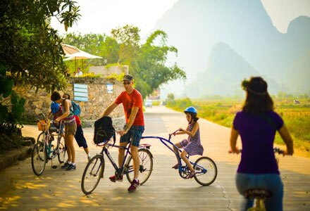 Families Cycling in Yangshuo